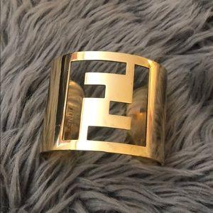 Authentic Fendi gold logo cuff bracelet
